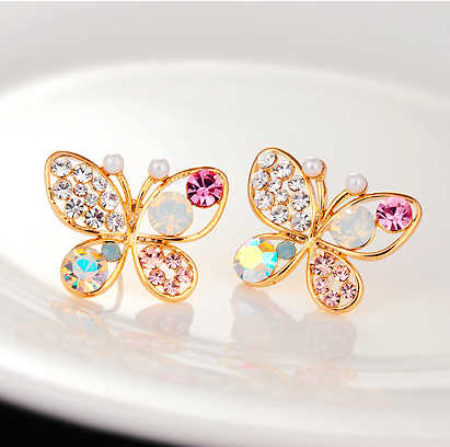 Baru Korea Mewah Berongga Shiny Colorful cystal Simulasi Pearl Kupu-kupu Stud Earrings E3266