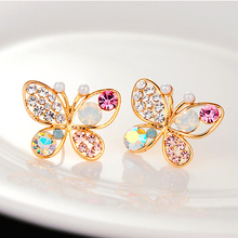 New Korean Luxury Hollow Shiny Colorful cystal Simulated Pearl Butterfly Stud Earrings E3266