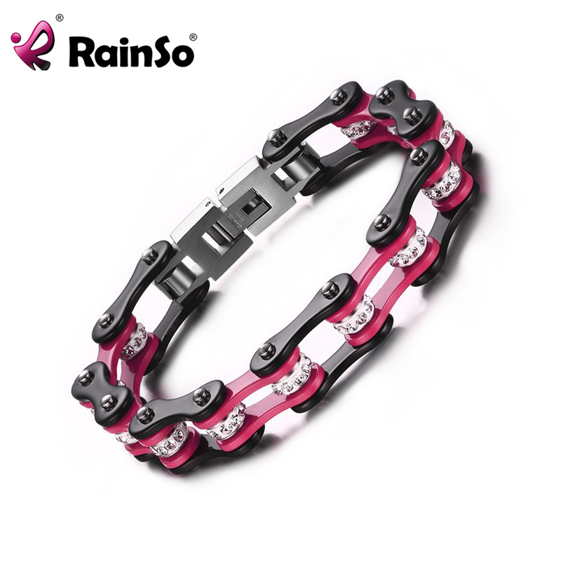 Fashion Design Punk 316L Stainless Steel Bracelet Jewelry Female Biker Pink Rhinestone Bicycle Motorcycle Chain For