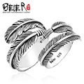 Beier new store100% 925 silver sterling feather ring for women/men big/small high quality  open wedding jewelry BR-SR011