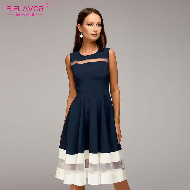 S.FLAVOR 2018 summer women Sleeveless fashion A-line Vestidos