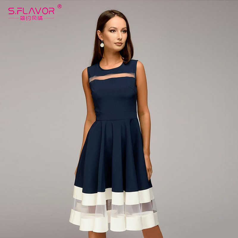 S. FLAVOR 2018 летние женские модное платье без рукавов трапециевидной формы Vestidos тонкий о-образным вырезом сексуальное платье винтажные элегантные ptrty платье для женщин
