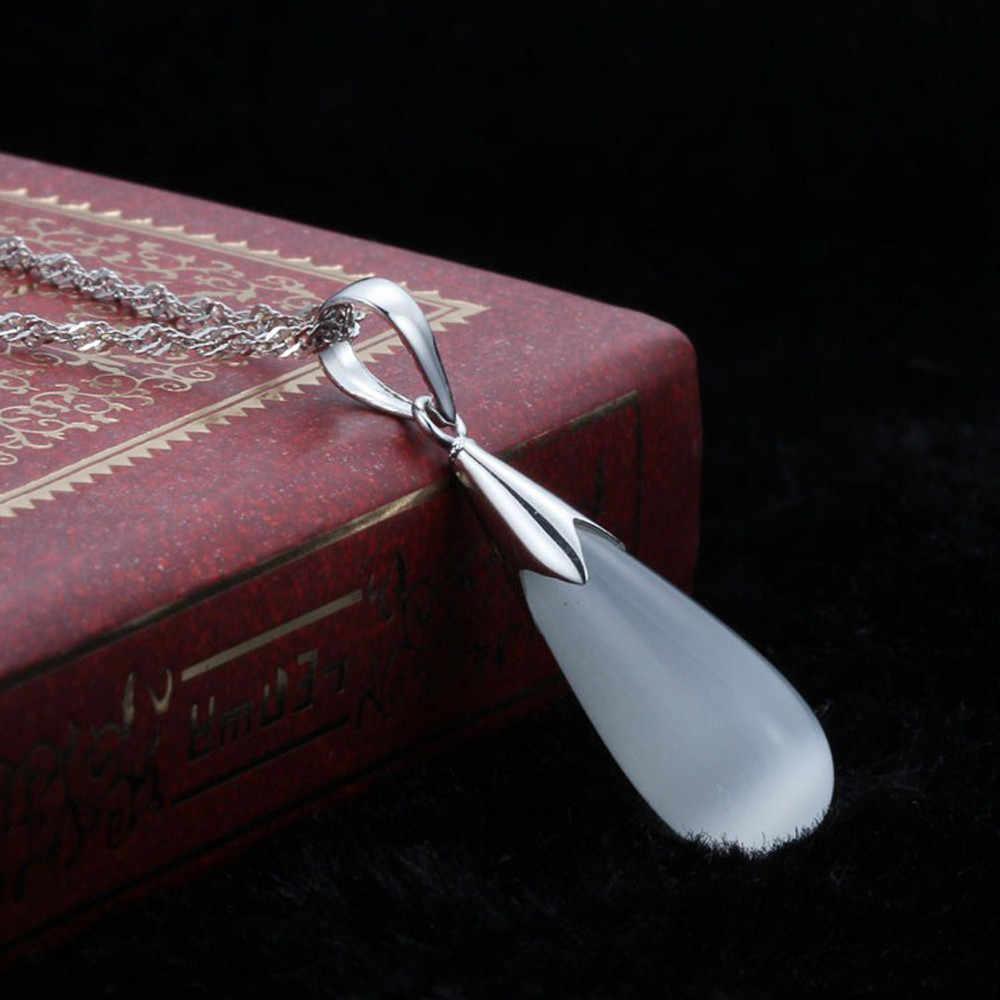 أنيق المختنق Charms عقيق أبيض وأزرق قلادة المختنق الفضة جميلة المعلقات للنساء قلادة الحلي Pendientes مجموعات