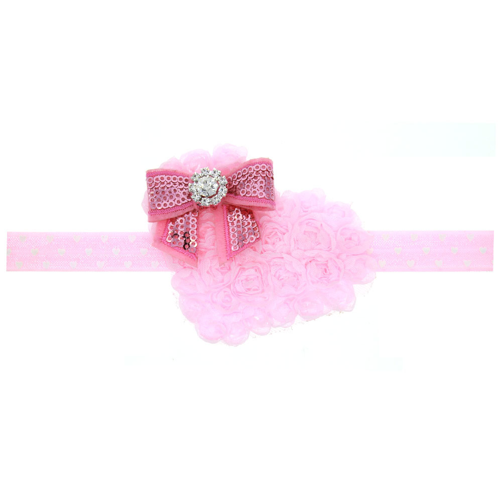 2019 Newest fashion newborn hair accessories heart flower headband Pink bowknot hair band Dad's Valentine's Day gift for girls