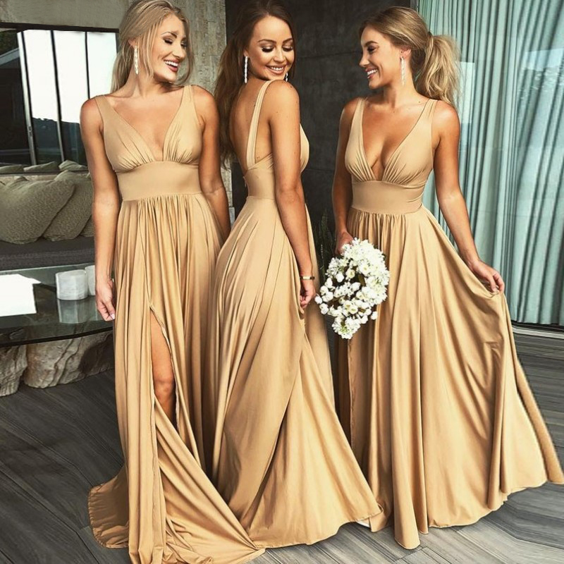 Babyonline Sexy V Neck Champagne Gold Long   Bridesmaid     Dresses   2019 Side Split Custom Made Wedding Party   Dress   vestido longo