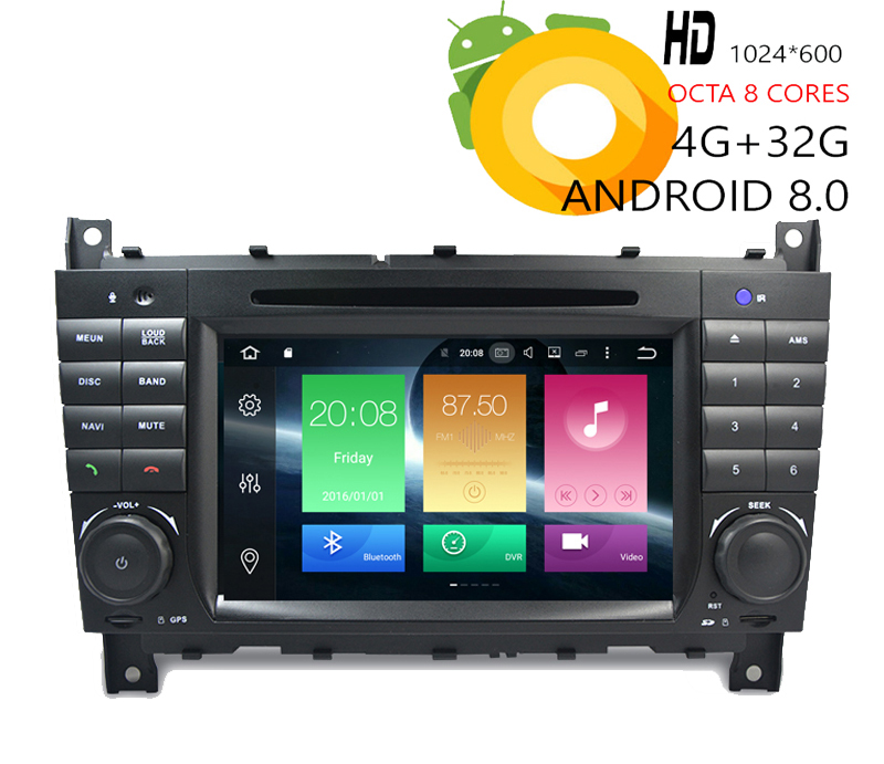 HIRIOT 7 IPS Car Android 8.0 DVD GPS Player Sat <font><b>Navi</b></font> For Mercedes <font><b>Benz</b></font> C-Class <font><b>W203</b></font> W209 4G RAM 32G <font><b>Radio</b></font> BT WIFI DAB+MAP TPMS image
