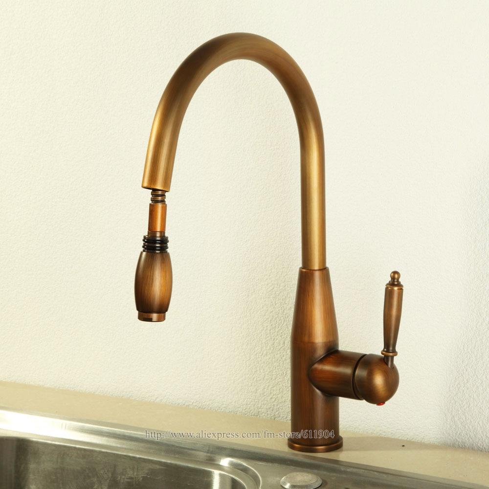 single handle pullout kitchen faucet ikea buffet luxury antique brass finish 16