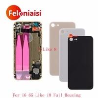 10 Pcs/lot Pour l'iphone 6 6G 6 S comme l'iphone 8 Style Retour Cadre moyen Châssis Assemblée Logement Complet Couvercle de La Batterie avec Flex Câble