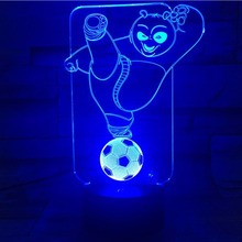 3D Vision Night Light Kungfu Panda Theme Image Touchment Control Colorful 3D Night Lamp 7 Colors Desk Light seven dragon ball colorful vision stereo led lamp 3d lamp light colorful gradient acrylic lamp remote control night light vision
