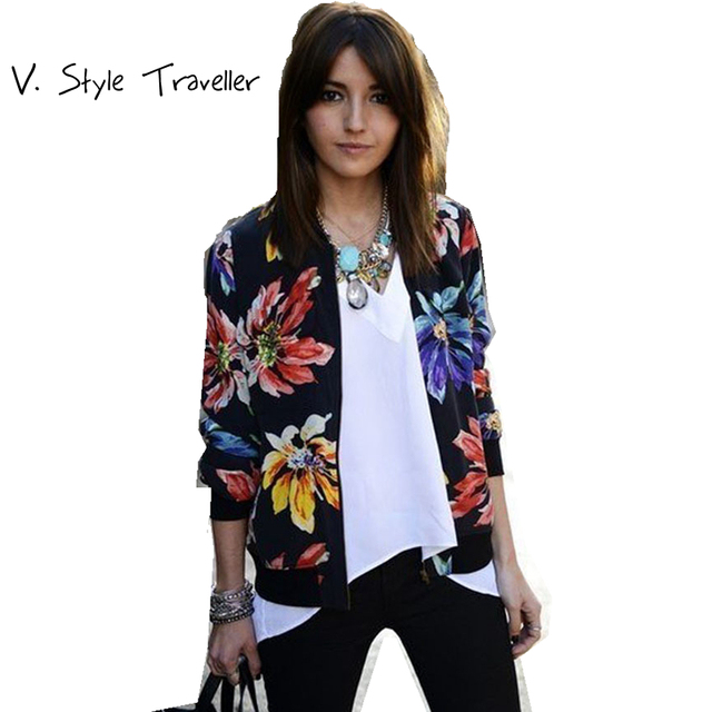 Aliexpress.com : Buy Floral Print Bomber Jacket Flower Black ...