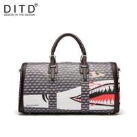 Shark Design Large Capacity Shoulder Handbag Travel Duffle Bag Men/Women Travel Bag PU Leather Messenger Bags Fashion Mens Bag