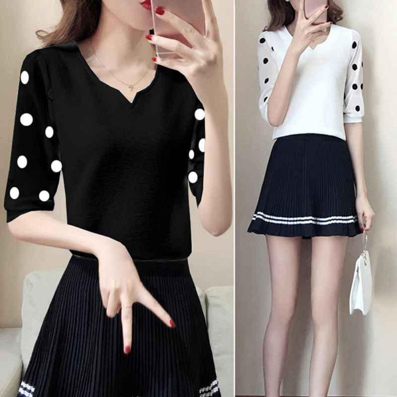 2019 сладости V шеи с длинными рукавами Черный Белый Блузка женская рубашка шифоновая майка, блуза