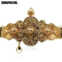 Luxueux Ethnique Sculpture Boule De Métal Ceinture de Chaîne de Taille Or-Couleur Ajuster La Longueur Royal Du Ventre Chaîne Max Turc Indien Corps bijoux