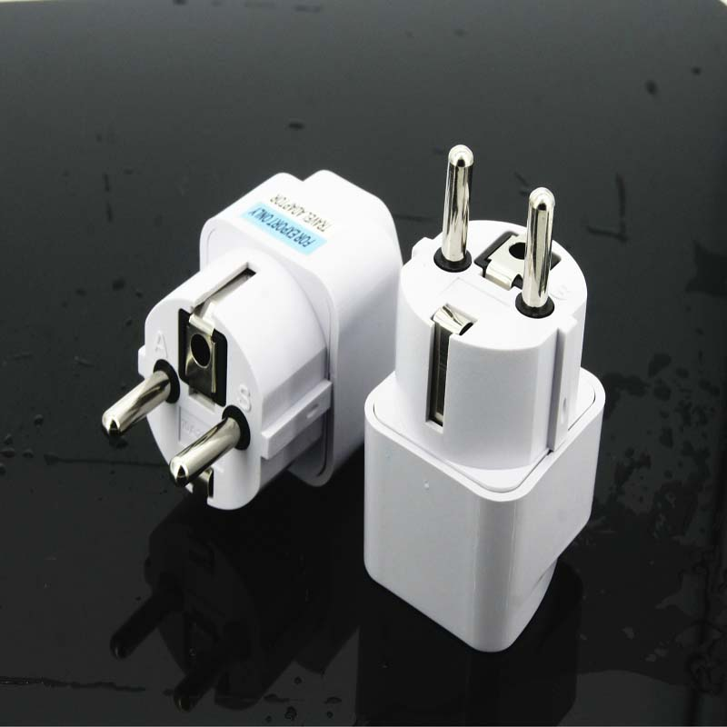 5PCS Universal UK US AU to EU AC Power Socket Plug Travel Charger Adapter Converter WHITE