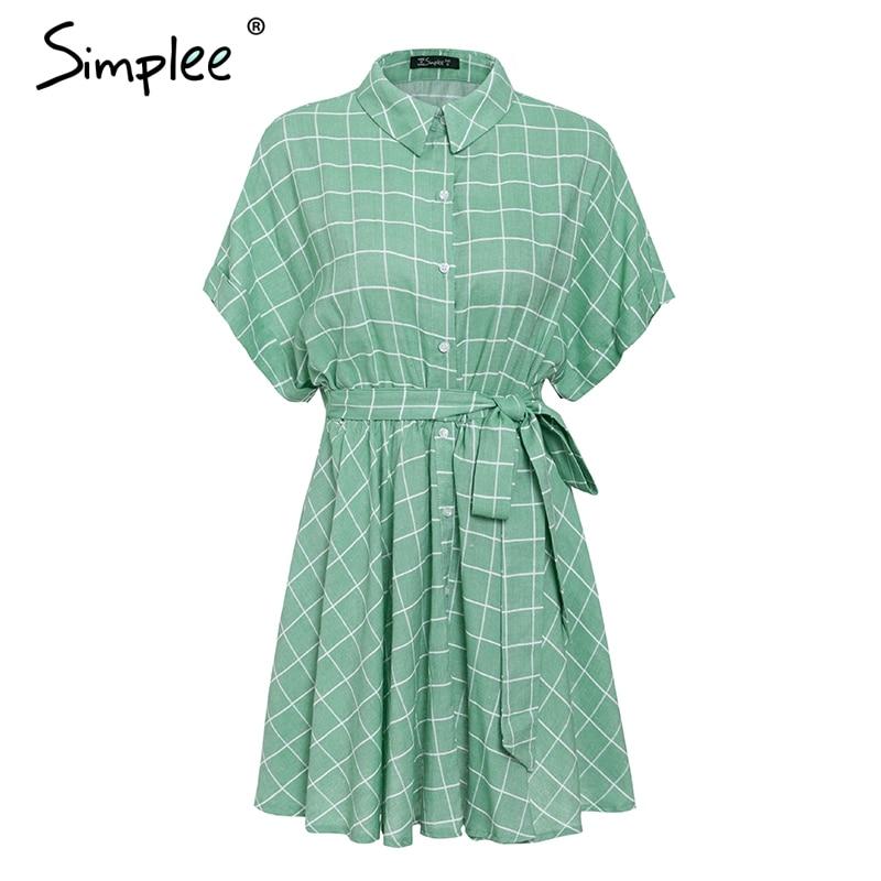 Image 5 - Simplee Elegant plaid sashes women dress Short sleeve A line casual streetwear female short dress Button summer dress 2019Dresses   -