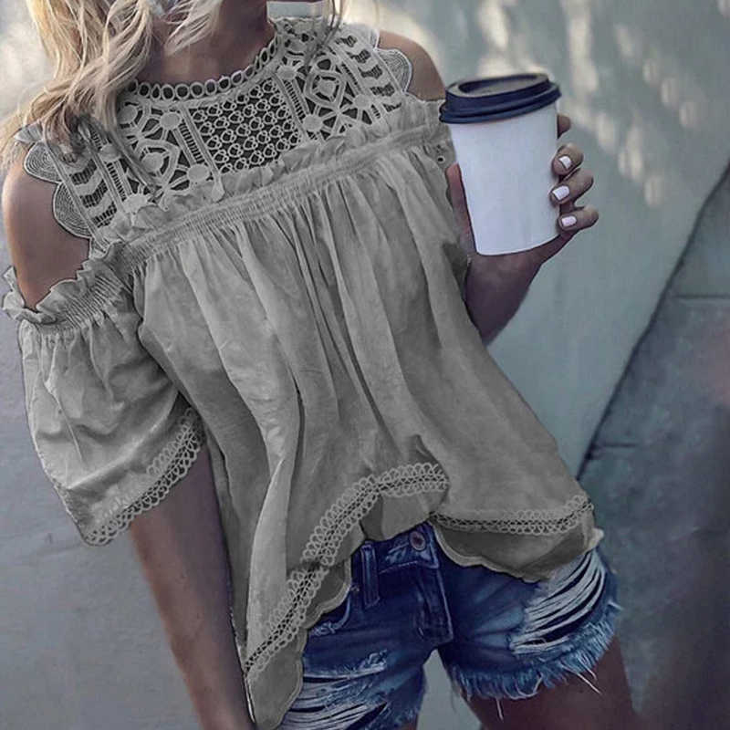 Women Shirts Camisas Mujer Summer Lace Round Neck Hollow Half Sleeve Casual Tops Ruched Cold Shoulder Blouse