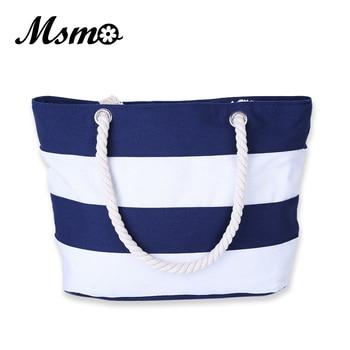 MSMO Women Beach Canvas Bag Fashion Color Stripes Printing Handbags Ladies Large Shoulder Bag Totes Casual Bolsa Shopping Bags 1