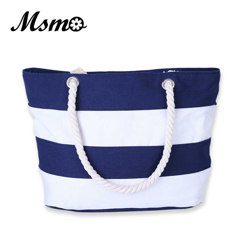 MSMO Women Beach Canvas Bag Fashion Color Stripes Printing Handbags Ladies Large Shoulder Bag Totes Casual Bolsa Shopping Bags