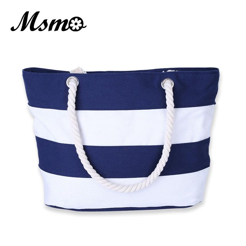 2017 Women Beach Canvas Bag Fashion Color Stripes Printing Handbags Ladies Large
