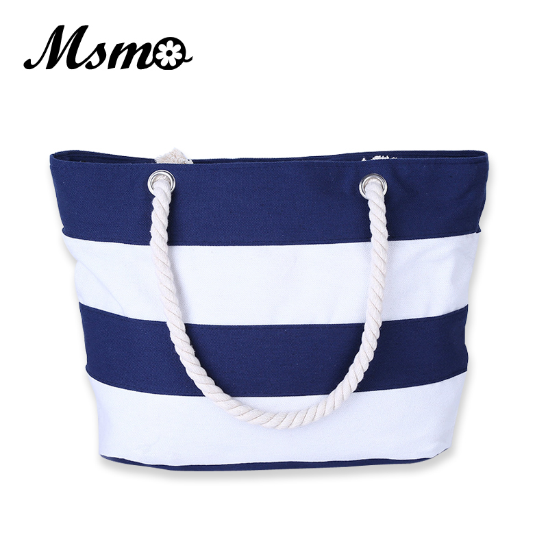 MSMO Women Beach Canvas Bag Fashion Color Stripes Printing Handbags Ladies Large Shoulder Bag Totes Casual Bolsa Shopping Bags ocardian canvas shopper shoulder bag striped beach bag large capacity tote women ladies casual shopping handbags bolsa 23 2017