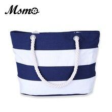 MSMO Women Beach Canvas font b Bag b font Fashion Color Stripes Printing Handbags font b