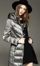Freeshipping Dhl/EMS Winter Coat  White Goose Down Coat Thin Women's Medium-long Autumn Slim