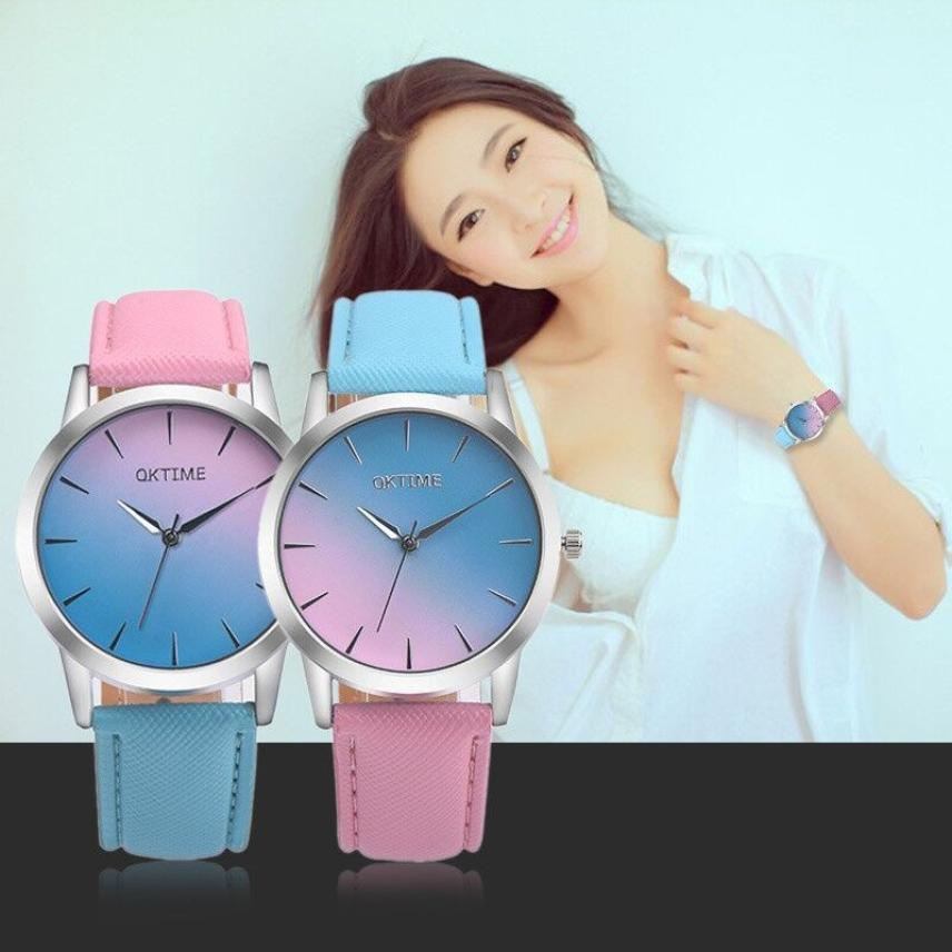 OKTIME WOK06919 2018 Women's Watch Quartz Watch Vintage Rainbow Design Fashion Two-tone Ladies Leather Watch Relogio Feminino #W