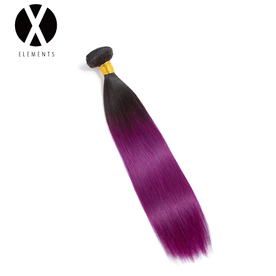 X-Elements Pre-colored Human Hair csomók T1B / Purple Straight Hair - Emberi haj (fekete)