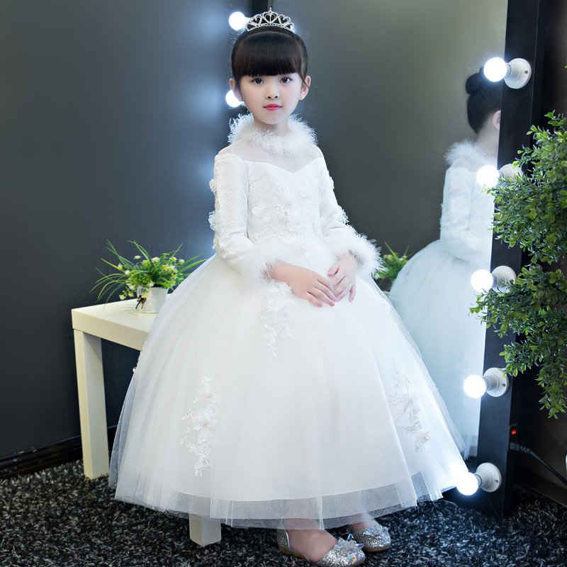 New Elegant Warm Winter Girls Children Lace Dress Clothes White Dress for Princess Holiday Party Wedding Birthday Long Dress 2017 new high quality girls children white color princess dress kids baby birthday wedding party lace dress with bow knot design