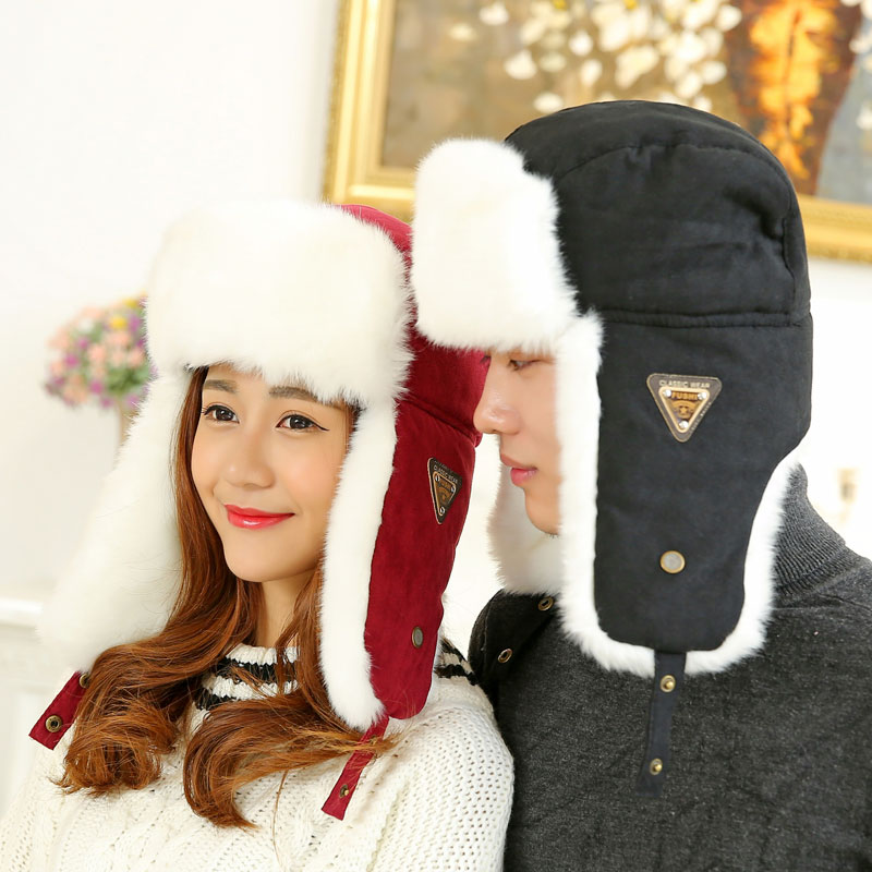 eec580cfb97 Lady Bomber Hats Faux Rabbit Fur Russian Ushanka Vintage Earflap Aviator  Trapper Men Women Winter Warm