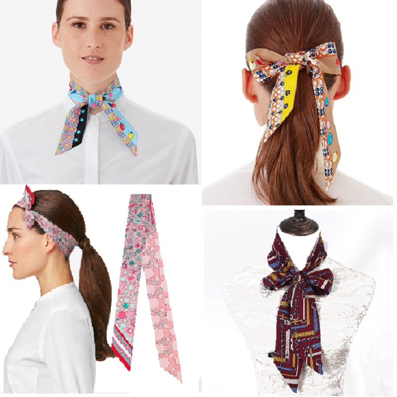 Rectangle Scarf Hair Tie Band For Business Party Women Elegant Small Vintage Skinny Retro Head Neck Silk Satin Scarf