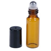 2/5/10 шт эфирное масло в роликовой бутылке пустой Янтарный стеклянный флакон с крышкой Нержавеющая сталь Металлическая Шариковая Для ароматерапия с парфюмом