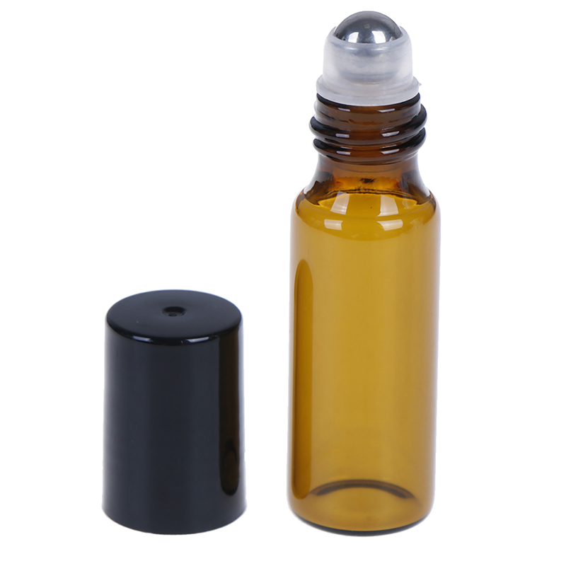 2/5/10PCS Essential Oil Roll On Bottle Empty Amber Glass Vials With Stainless Steel Metal Roller Ball For Perfume Aromatherapy
