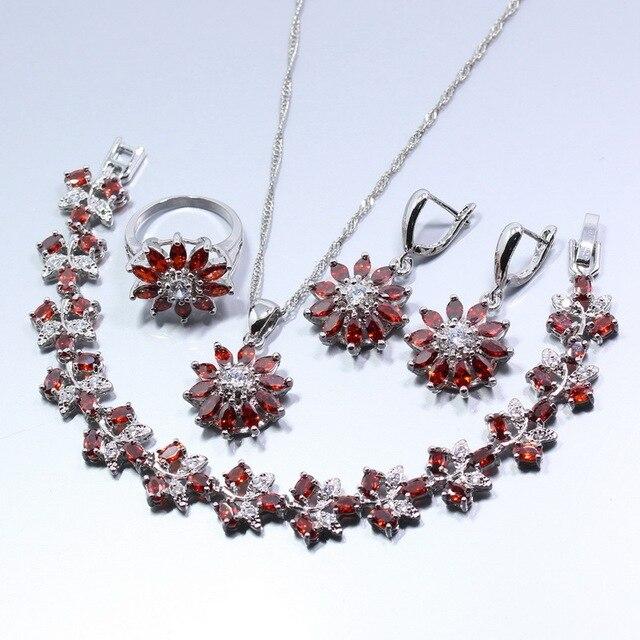 A Brillant 925 Silver Women Wedding Flower Jewelry Set Red Garnet Earring Necklace Bracelet Pendant Ring
