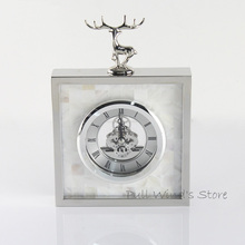 Exquisite fashion silver elk Household table clock Creative animal deer business office clocks