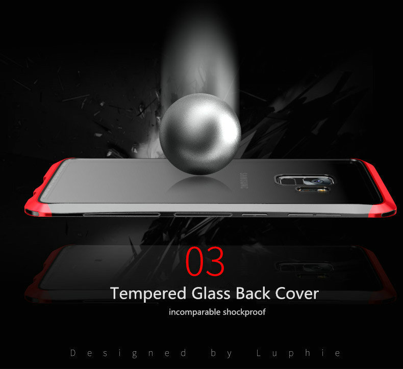 LUPHIE Case For Samsung Galaxy S9 Plus Metal Bumper Clear Tempered Glass Back Cover  (3)