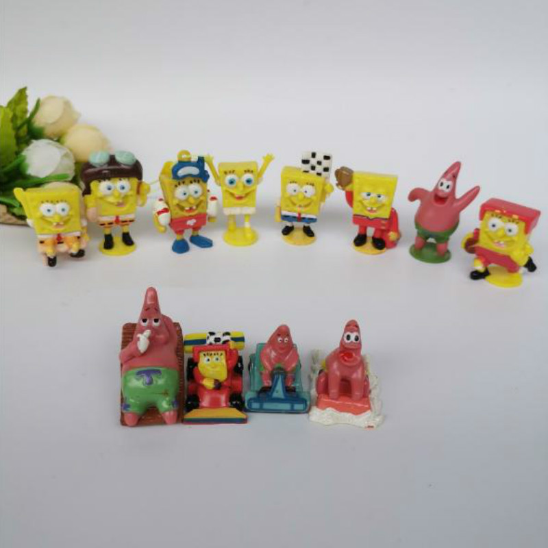 50PCS/<font><b>lote</b></font> Kids Toys bob esponja Cute Cartoon Anime Baby Action <font><b>figures</b></font> Boys toy Birthday Gift for Children Hobby Collections image