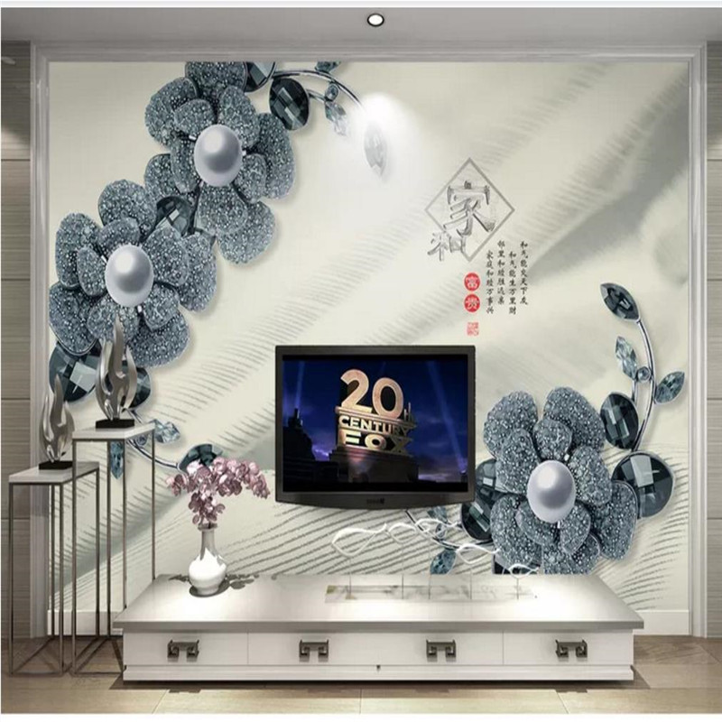 Custom wallpaper 3D three dimensional diamond pearl flower jewelry TV background wall decoration high grade waterproof material in Wallpapers from Home Improvement