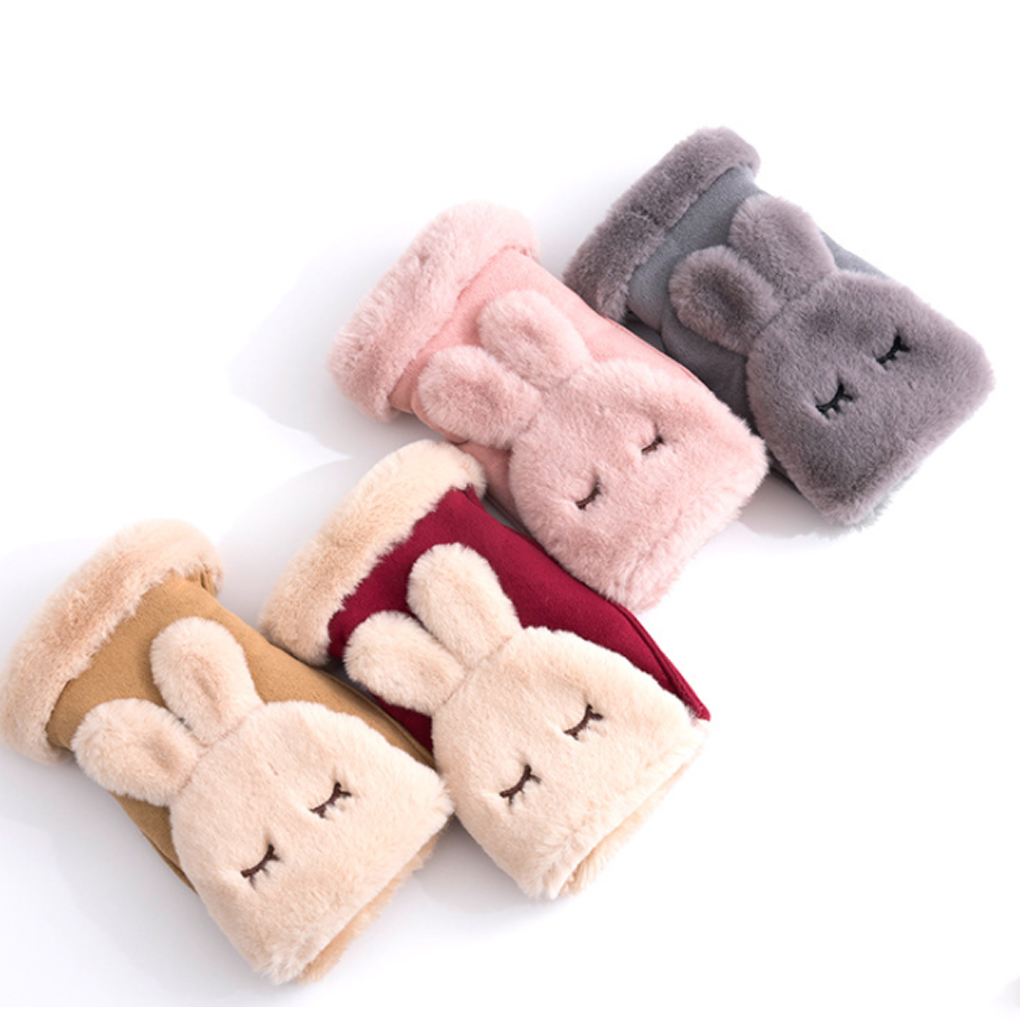 New Arrival 1 Pair Women Girls Rabbit Ear Velvet Gloves Students Winter Cute Bunny Ear Flip Half Mittens