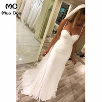 Elegant Mermaid 2018 Wedding Dress Lace Bridal Dresses Spaghetti Straps Sweep Train Zipper Back Tulle White Wedding Gown