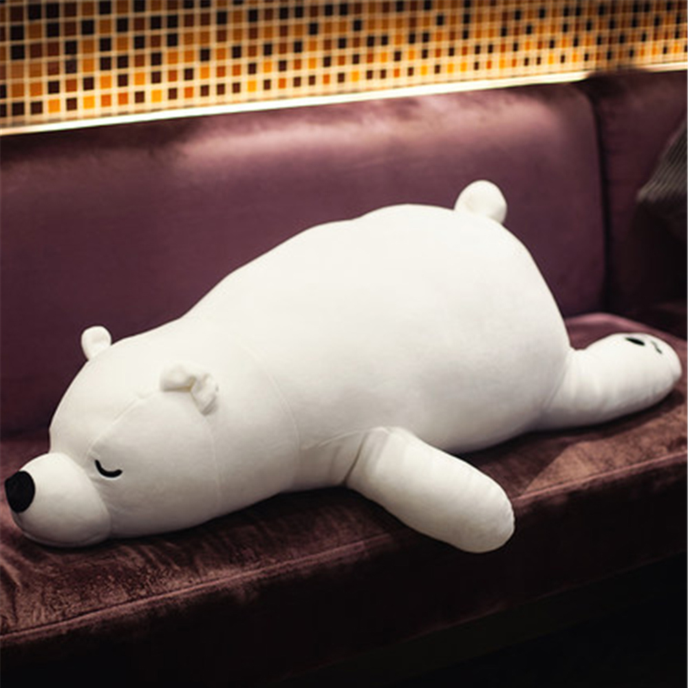Fancytrader Big Pop Soft Plush Polar Bear Toy Cuddly Stuffed Large Lying Bears White Brown Pillow Doll 100cm 39inch fancytrader seal plush baby doll large stuffed cartoon animal arctic seal toy white bear kids gift pillow 39inches 100cm