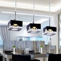 Pendant Light G4 LED Bulb Adapter K9 Crystal Black Clear Square Design Modern Restaurant Light 3