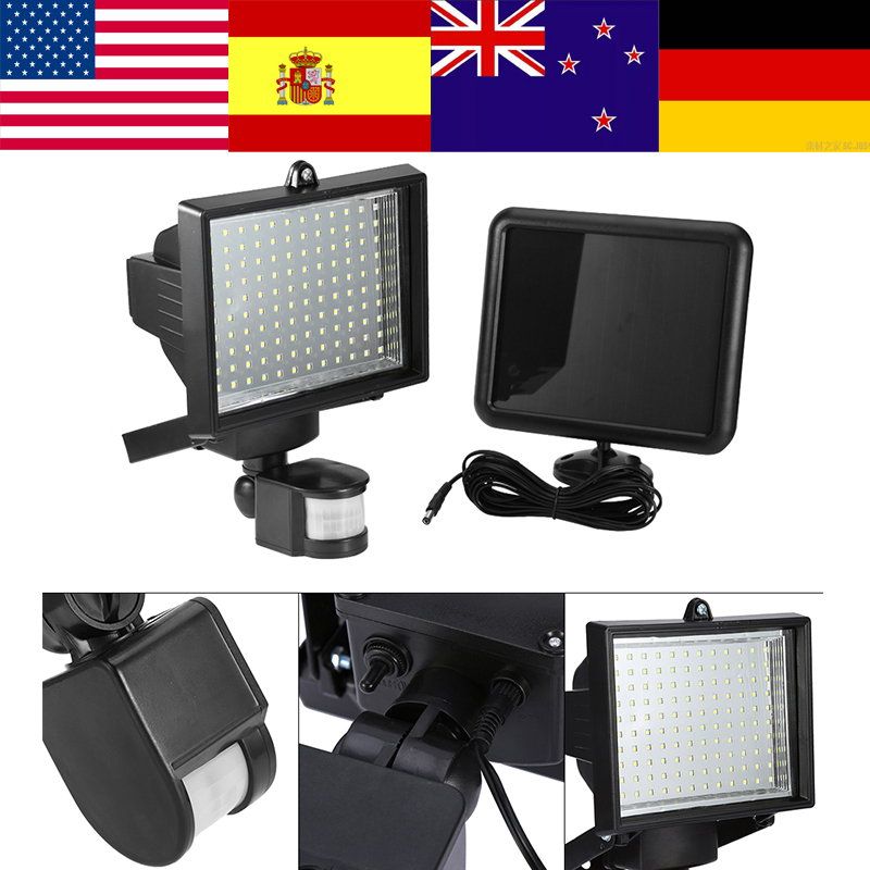 120LED Solar Light Wall-mounted Solar Spotlight w/ PIR-sensor Motion Detector BS3 Escape Light Floodlight Motion Sensor Lamp