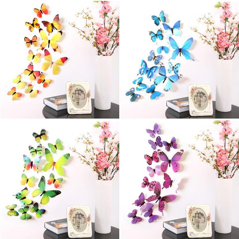 12Pcs Lot 3D DIY Wall Sticker Stickers Butterfly Home Decor For Fridge Kitchen Living Room Decoration Adesivo de parede D38JL18