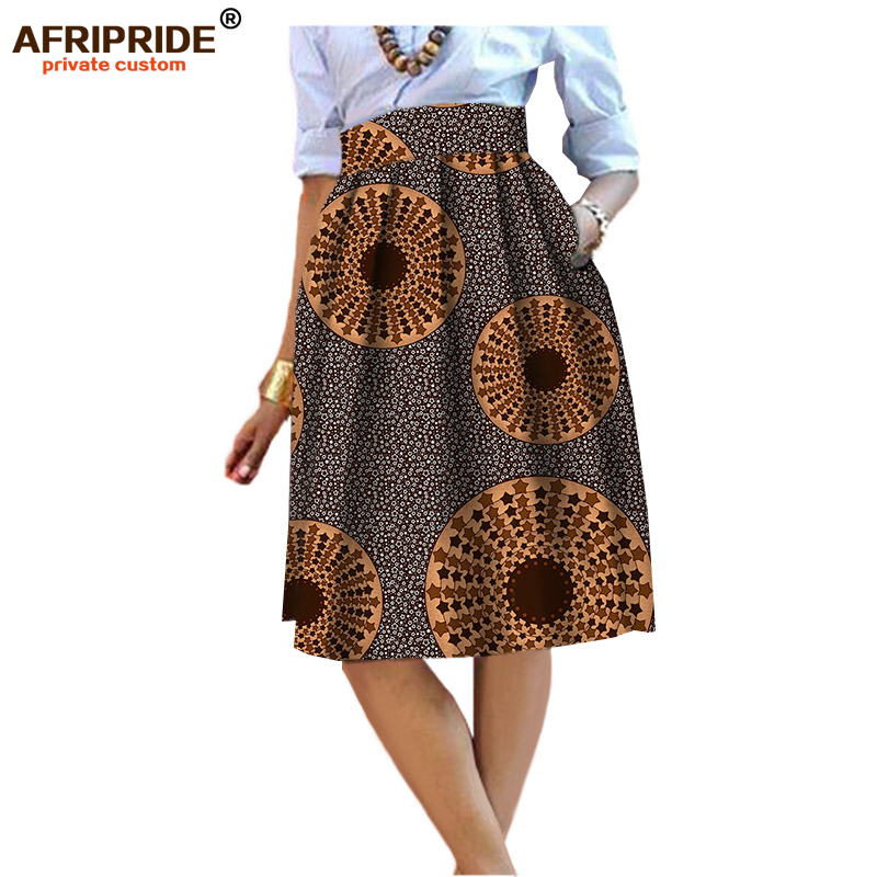 2019 summer Original african style garment midi skirt for women private custom high quality batik cotton femmal clothing A722704