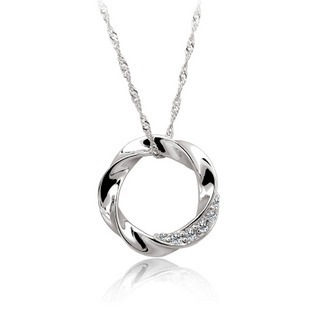 fashion new design 925 sterling silver necklaces and pendant Micro Pave zirconia round pendant include chain free shipping