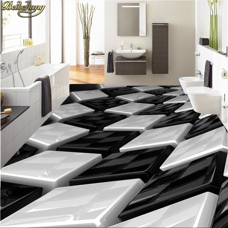 US $18.0 40% OFF|Beibehang Benutzerdefinierte tapete 3D schwarz und weiß  dreidimensionale box badezimmer wand PVC selbstklebende wasserdichte boden  ...