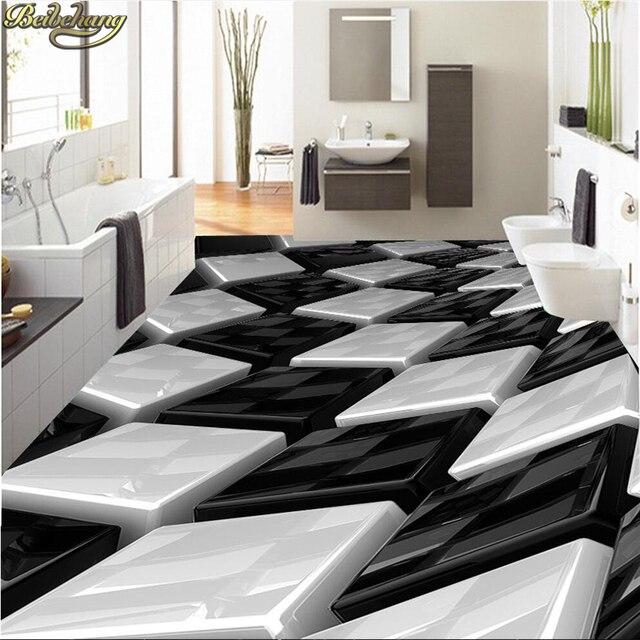 US $17.7 41% OFF|Beibehang Benutzerdefinierte tapete 3D schwarz und weiß  dreidimensionale box badezimmer wand PVC selbstklebende wasserdichte boden  ...