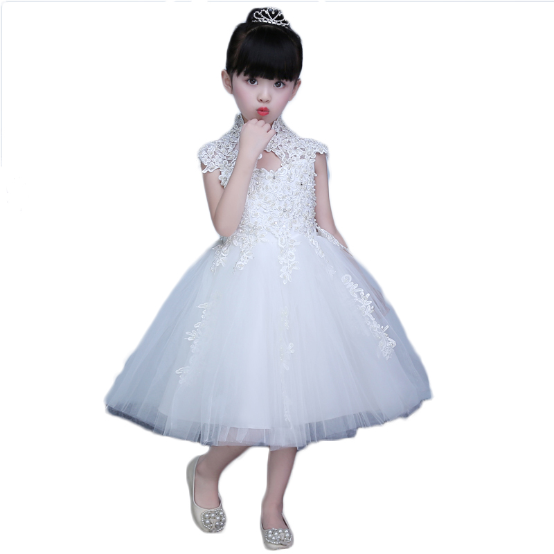 ФОТО White Lace Princess Gown Turtleneck Backless Girls Wedding Dresses Summer 2017 New Sleeveless Knee-Length Kids Girls Clothes P20