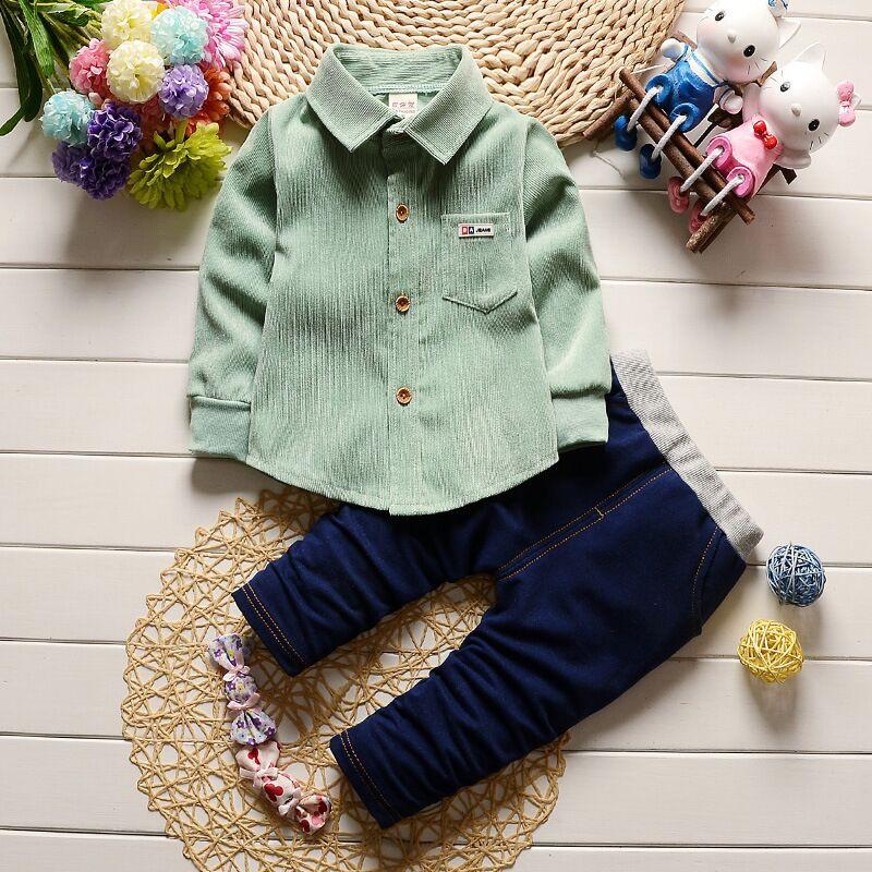 Free Ship Wholesale Spring Autumn Boys 2pc Suit Corduroy Shirt Denim Pants + Jeans Children Clothing Baby Party Suit 3 Colors